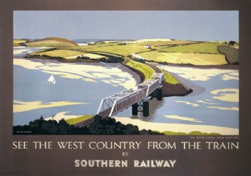 Cornwall, Padstow. Vintage Southern Railway Travel poster by EH Hubbard